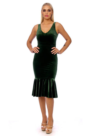 Khaki Pephem Velvet Bodycon Dress