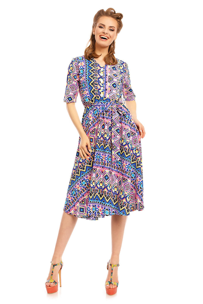 Looking Glam Retro Vintage 1940's Shirt Dress in Floral Print Blue