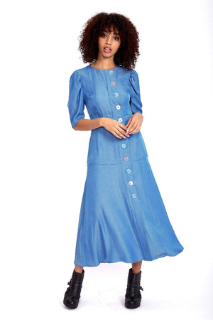 Button up maxi dress in indigo