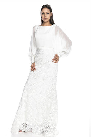 Sleeve Detailed Lace Hijab Evening Dress