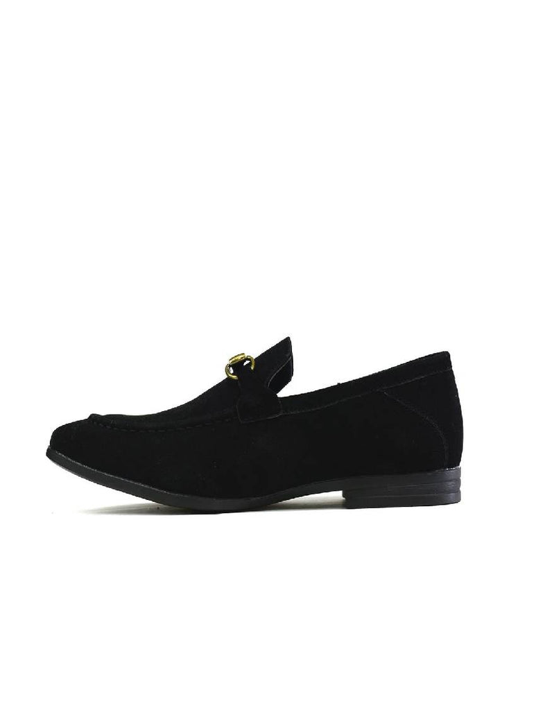 MSH-8141 3106-1 STITCHED BUCKLE SLIP ON SHOES - BLACK - PACK OF 12 - SIZE 7 to 12