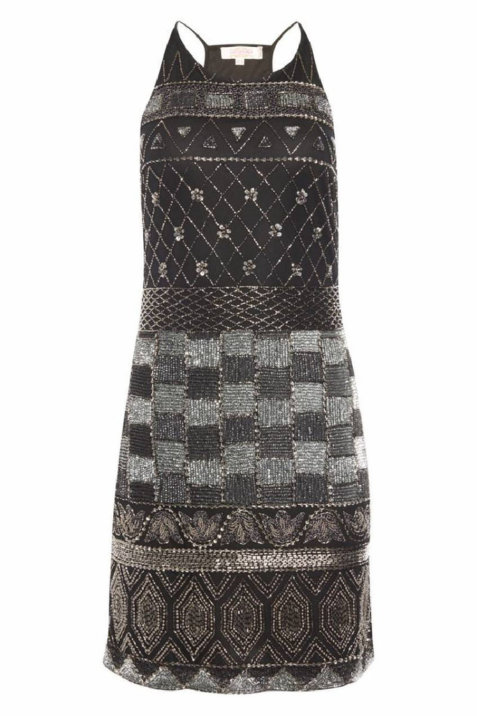 Eloise Vintage Inspired Halter Neck Dress in Black Silver