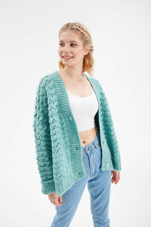Women Mint Oversize Knitwear Cardigan