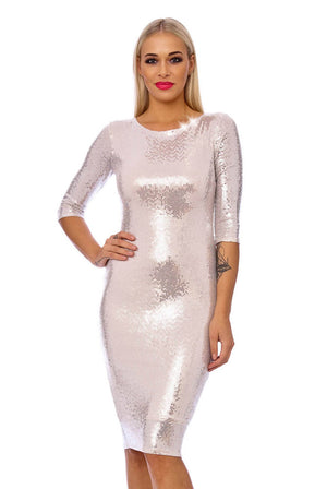 Silver Sequin 3/4 Sleeve Bodycon Midi Dress