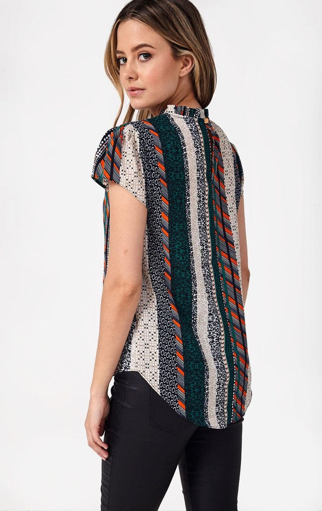 Frill Neck Top in Patchwork Print