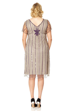 Daisy Flapper Dress in Taupe