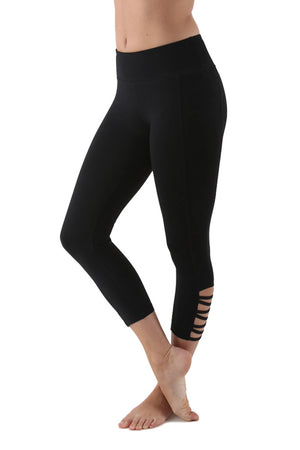 Capri Yoga Fitness Leggings with Rear Zipper Pocket