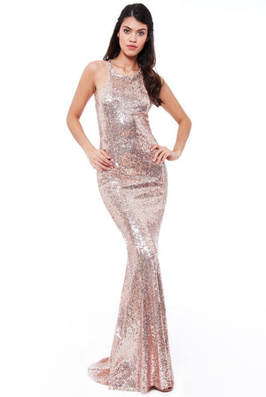 BOW DETAIL SEQUIN MAXI DRESS