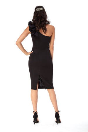 Black Frill Shoulder Midi Dress in Bonded Scuba