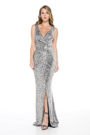 Slit and Sequined Maxi Dress