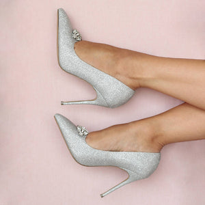 Glitter 'Alandra' high heel stiletto heel court shoes