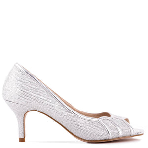Glitter 'Chester' Mid Heel Kitten Heel Peep Toe Shoes