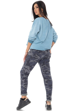 Comfortable camouflage trouser - Blue-Grey - AIMELIA - TR400