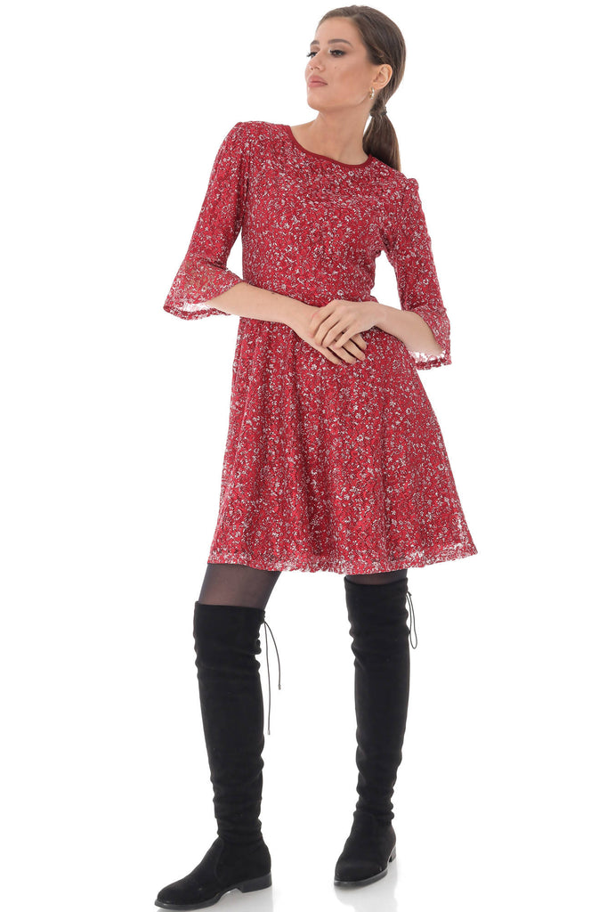 Ditsy print lace skater dress Aimelia - DR4023