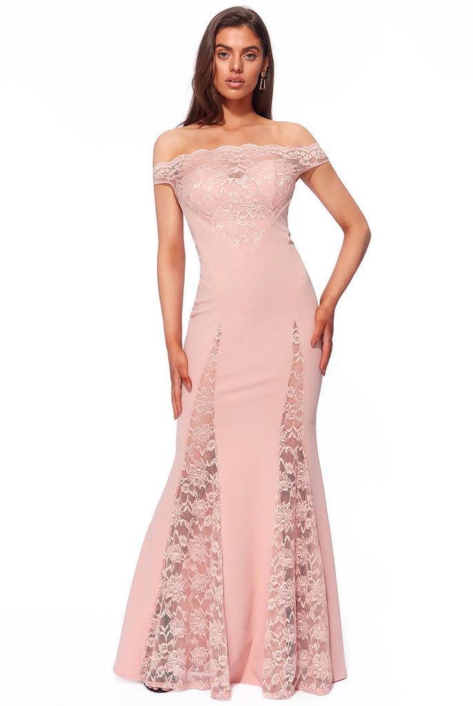 SCALLOP BARDOT WITH LACE INSERTS MAXI