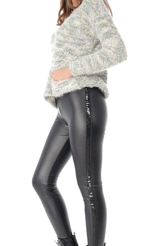 Black faux leather leggings, with sequin detail, Aimelia - TR345