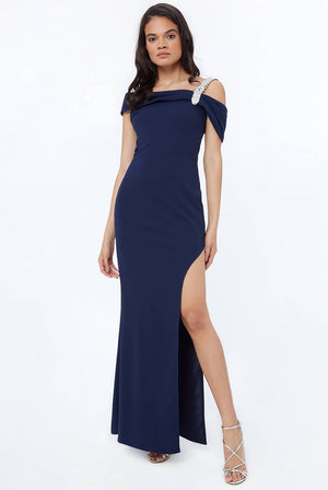 DIAMONTE BELT TRIM ONE SHOULDER MAXI DRESS