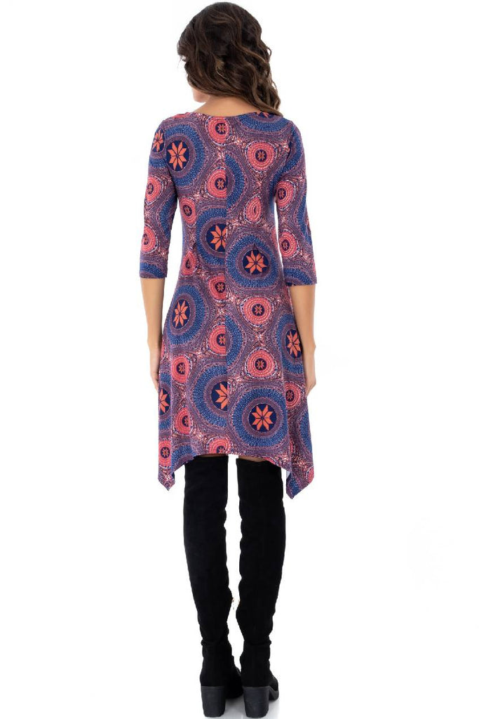 Retro printed midi, lightweight jersey fabric with an asymmetric hemline and 3 quarter sleeves -Aimelia