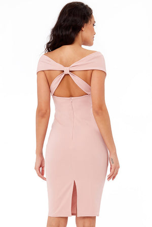 BACK BOW TIE SCUBA CREPE MIDI DRESS