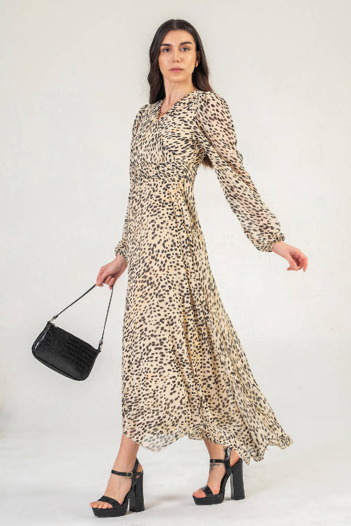 Wrap Front Maxi Dress With Long Sleeves In Cream Leopard Print