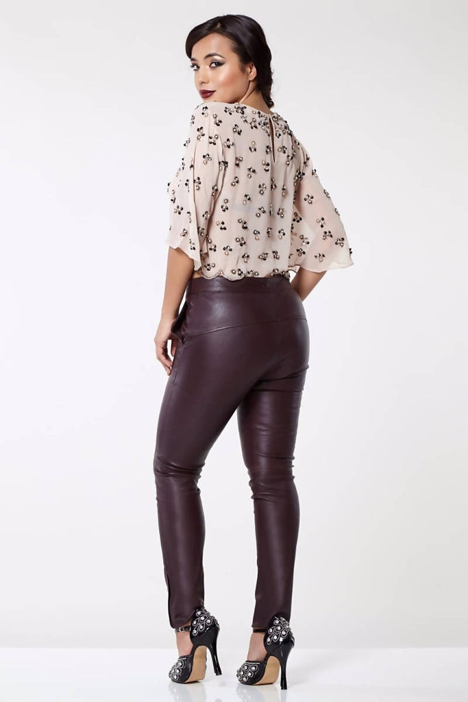 Claudia Genuine Stretch Fitted 100% Leather Trousers