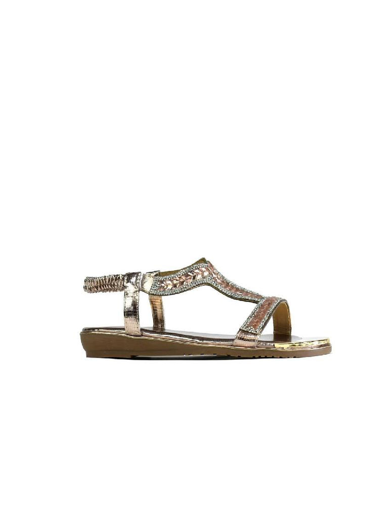 LSA-8126 8013-1 STONE STRAPPY SANDAL - CHAMPAGNE - PACK OF 12 - SIZE 3 TO 8