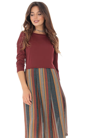 Rust midi stripes dress Aimelia - DR3723