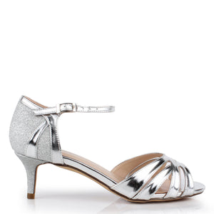 Glitter 'Heath' Wide Fit Two Part Low Heel Sandal