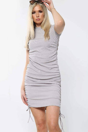 High Neckline Short Sleeve Ruched Tie Detail Bodice Mini Dress