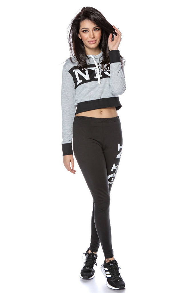 Trendy cropped top 2 piece track suit - AIMELIA - TR360