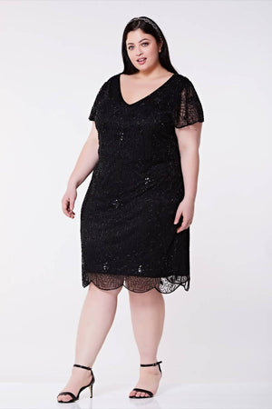 Hand Embellished Downton Abbey Vintage Inspired Flapper Dress - Plus Size