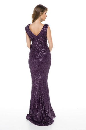Maxi Dress with Sequin and Neckline Detail