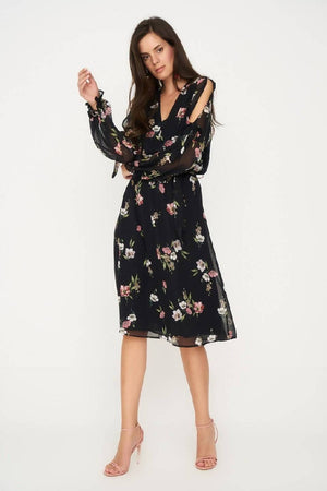 Floral Dress With Split Sleeve Black