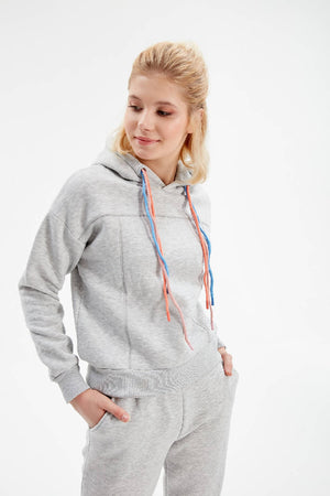 Women Grey Tie Detailed Sweatshirt and Sweatpants Set.