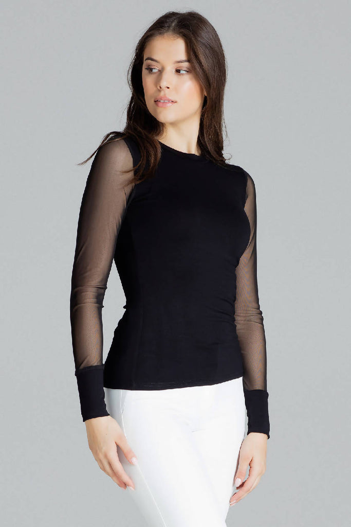 Fitted Blouse With Long Sleeves Made of Mesh