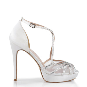 Leon' Cross Strap High Heel Platform Sandal
