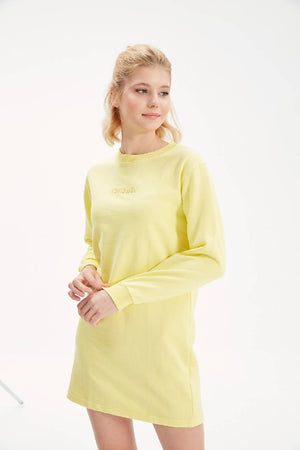Women Yellow Sweatshirt Dress with Writings