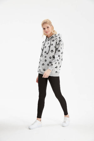 Women Grey Paw Patterned Hoodie Sweatshirt & Leggings Set