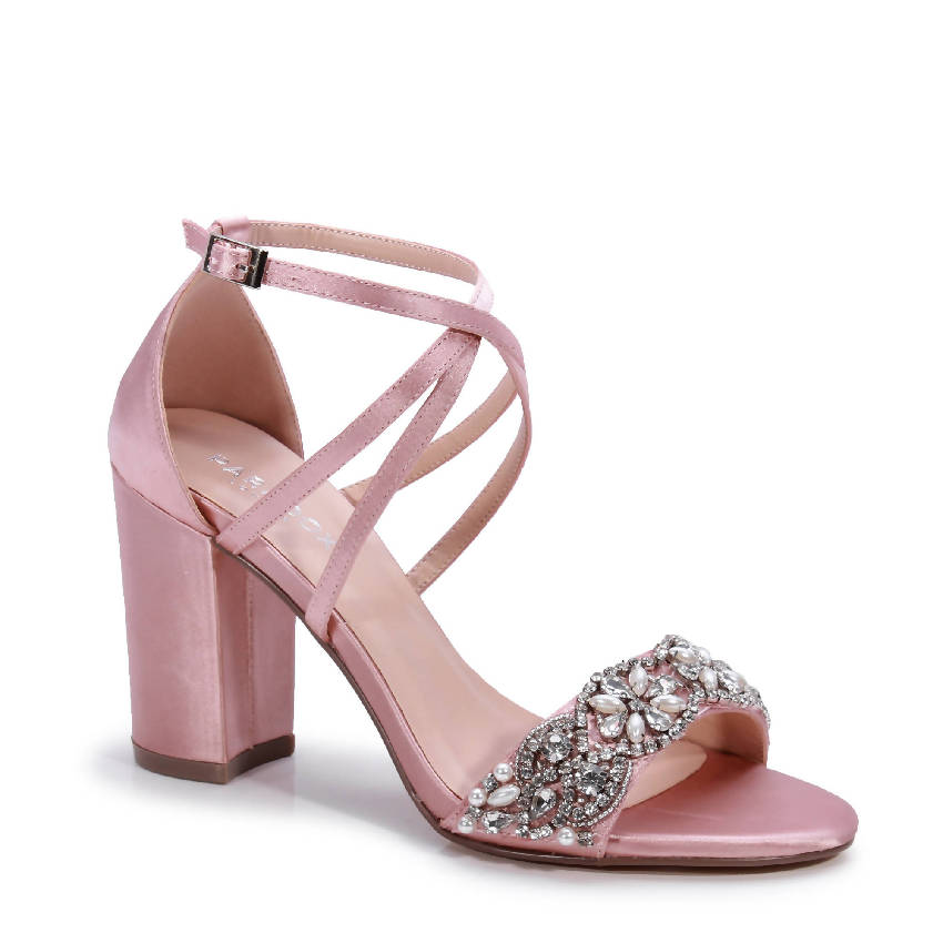 Satin 'Hira' Embroidered High Block Sandal