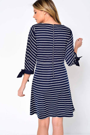Striped Tunic dress with Tie sleeve detailing