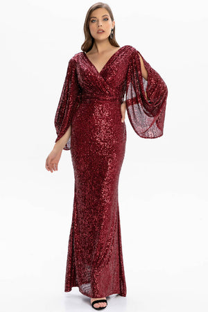 Open Back Sleeve And Belt Detail Long Sequined Dress