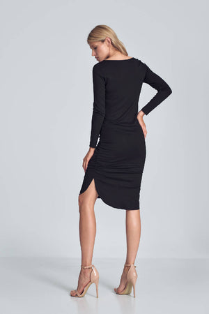 Black Fitted Creased Midi Dress