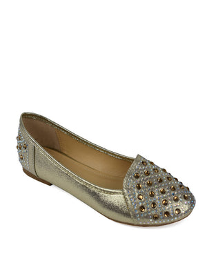 LSH-6256 J394 J429 DIAMANTE SLIP ON SHOE - GOLD