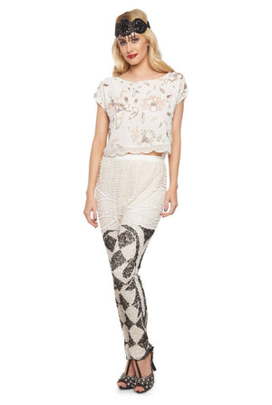 Flora Embellished Flapper Top in White