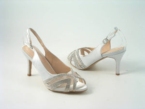 Divine Satin Diamante Peep Toe Sling Back Mid Heel Shoes
