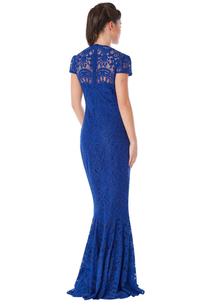CAP SLEEVES LACE MAXI DRESS