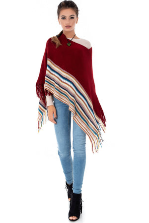 Chic poncho with a contrast border, Aimelia - BR1902