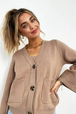 Katie Wide Sleeve Cardigan in Camel
