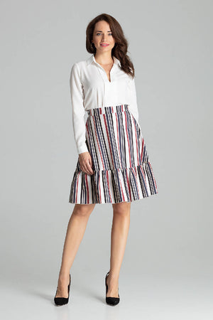 Strip Print Flared Midi Skirt