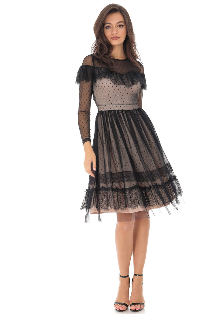 Black mesh lace dress, Aimelia - DR3982